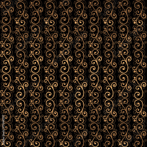 Golden Luxury Background Vector Gold Black Victorian Pattern Design Royal Ornament For Wedding Party
