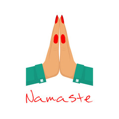 Namaste. Welcome gesture hands woman. Mudra greeting posture. Vector illustration flat design. Isolated on white background.