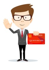 Man in suit shows plastic credit or debit card, member card, vip card with magnetic stripped, credit card payment concept. Stock flat vector illustration.