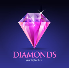 Vector abstract, Pink Diamond symbol