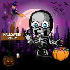 Halloween Party Design template with a boy in a suit skeleton