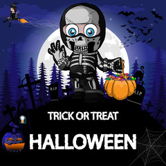 Halloween Party Design template with a boy in a suit skeleton, witch, pumpkin and lamp