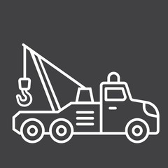 Tow truck line icon, transport and vehicle