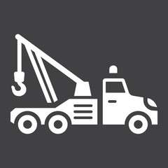 Tow truck glyph icon, transport and vehicle
