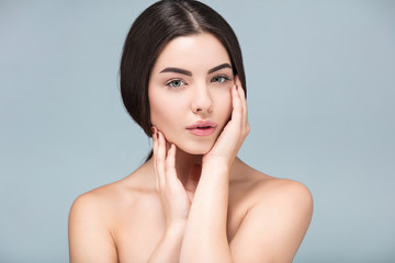 Young adult, Spa  girl beautiful portrait, fresh healthy skin, skincare and cosmetology concept, rejuvenation and treatment