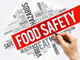 Food Safety word cloud collage, concept background