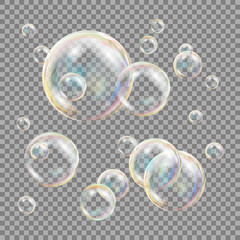 3D Soap Bubbles Transparent Vector. Sphere Ball. Water And Foam Design. Isolated Illustration