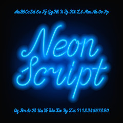 Neon script alphabet font. Blue neon uppercase and lowercase letters and numbers. Hand drawn vector typeface for your headers or any typography design.