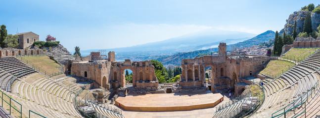 Ancient Greek theater in Taormina, Sicily Wall mural