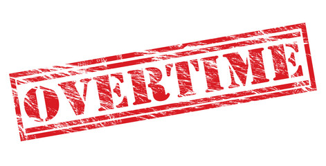 overtime red stamp on white background