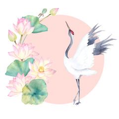 Watercolor crane with flower lotus. Japanese design. Hand drawn illustration