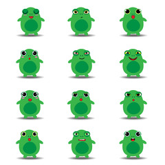 Flat emoji collection of funny frog