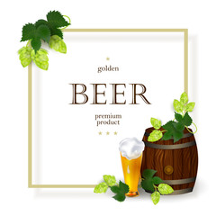 vector poster, banner with free space for text with glass mug and barrel of golden lager beer with hop leaves, cones. Ready for design mockup template. Isolated illustration on a white background.