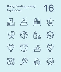 Outline Baby, feeding, care, toys icons for web and mobile design pack 1
