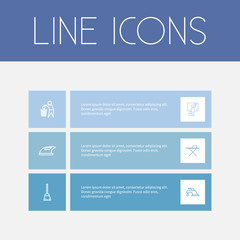 Set Of 6 Editable Cleanup Outline Icons. Includes Symbols Such As Dust, Iron, Tap And More. Can Be Used For Web, Mobile, UI And Infographic Design.