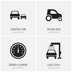 Set Of 4 Editable Transport Icons. Includes Symbols Such As Vehicle Wash, Race, Odometer And More. Can Be Used For Web, Mobile, UI And Infographic Design.
