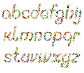 colorful English alphabet, consisting of butterflies of different colors