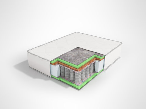 Orthopedic mattress in the section prospect 3D render on gray background