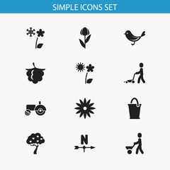 Set Of 12 Editable Gardening Icons. Includes Symbols Such As Breeze Direction, Blackberry, Man With Trolley And More. Can Be Used For Web, Mobile, UI And Infographic Design.