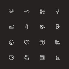 Set Of 16 Editable Relatives Outline Icons. Includes Symbols Such As Fish Tank, Home Shoes, Doll And More. Can Be Used For Web, Mobile, UI And Infographic Design.