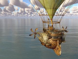 Fantasie Heißluftballon über dem Meer