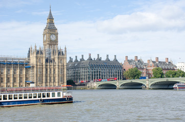 Parliament and Westminster Bridge from South of River Thames