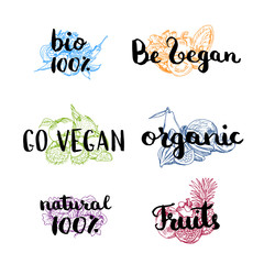 Vector doodle handdrawn colored piles of fruits and vegetables with vegan, organic, natural lettering