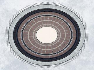Kolosseum von oben im antiken Rom