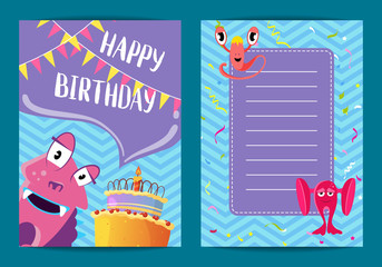 Vector happy birthday card template with cute cartoon monsters, cake, garlands