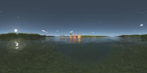 360 Grad Panorama mit badenden Frauen und Zwergen auf einem Floß