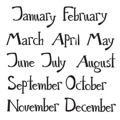 Hand drawn vector lettering - months of the year. Doodle  style.
