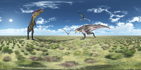 360 Grad Panorama mit Tyrannotitan und Quetzalcoatlus