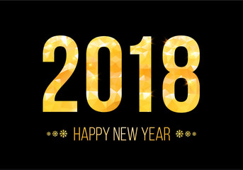 2018 Happy New Year Background. Golden numbers with confetti on black background. Template for your seasonal flyers and greetings card. Vector illustration.