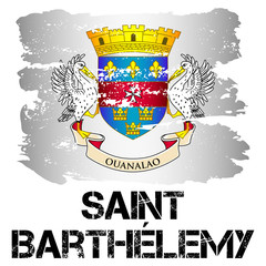 Flag of Saint Barthelemy from brush strokes in grunge style isolated on white background. Latin America. Overseas collectivity of France in Caribbean Sea. Vector illustration