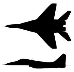 Silhouette eines modernen Kampfflugzeuges