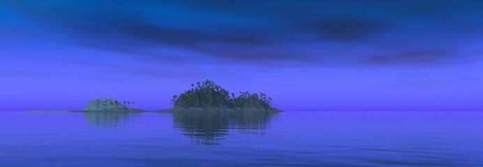 Tropische Insel bei Nacht