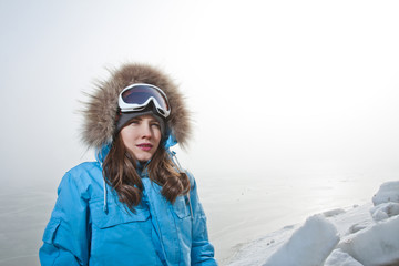 Beautiful woman in winter adventure