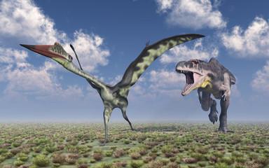 Dinosaurier Tyrannotitan attackiert den Flugsaurier Quetzalcoatlus