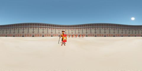 360 Grad Panorama mit römischen Legionären im Kolosseum