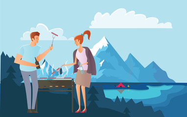 People on picnic or Bbq party in the mountains. Camping. Young Man and woman cooking steaks and sausages on grill. Mountain landscape with lake. Vector illustration.