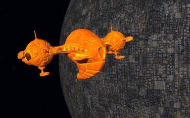 Raumschiff und fremder Planet