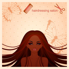 vector illustration of beautiful Afro-American girl for a hairdressing salon