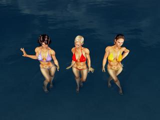 Baden im Meer mit attraktiven Frauen