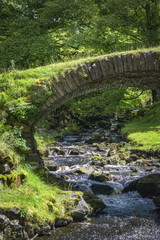 River flowing in green landscape with bridge England