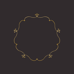 Gold round frame with floral elements. Greeting card with place for text, gold menu and invitation border. Vector illustration.