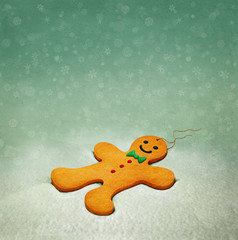 Background for Holiday greeting card or illustration with Gingerbread Man.