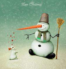 Holiday greeting card or illustration with snowman and   love  white rabbit and hearts