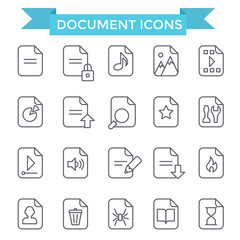 Document icons, line flat design