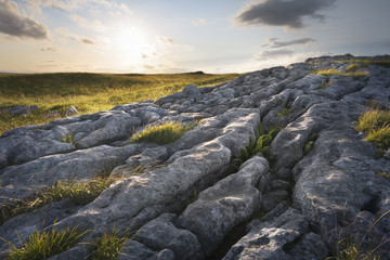 Limestone landscape in soft golden light in evening England