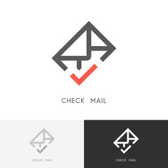 Check mail logo - envelope or letter with red checkmark or tick symbol. Email, contacts and business vector icon.